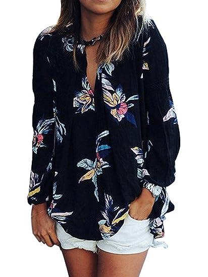 Minetom Impresión Floral V Collar Mujer Flojas Gasa Manga Camiseta Larga De La Blusa De Las
