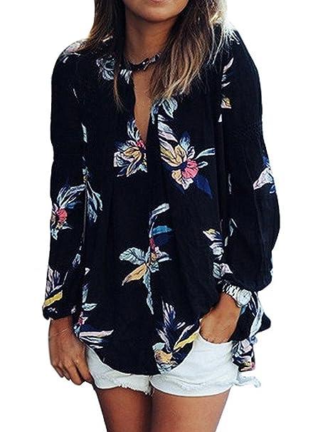 87263b1005cc Minetom Manga Larga Verano Moda Camiseta Para Mujer Blusa Tops T ...