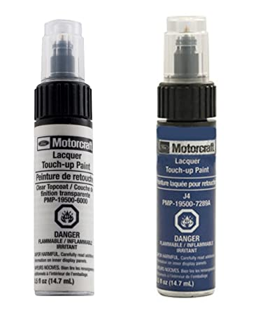 Genuine Ford Motorcraft Touch Up Paint Deep Impact Blue J4 & Clear Top Coat Two Bottle