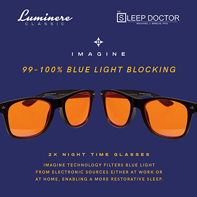 ffbbf13a08 Amazon.com  Luminere UV Blue Light Blocking Glasses - Unisex 2 Pairs  CLASSIC BLACK - Sleep better