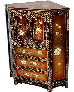 Black And Gold Lacquer Wooden Corner Cabinet Model 3243 DG
