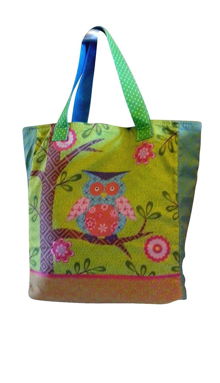 1 Stk: Umhängetasche / Schultertasche / Shopper mit Eulen und Blumen - Kindertasche Tasche Stoff Mädchen Tragetasche Eule Kinder-Land