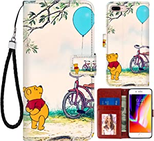 DISNEY COLLECTION Wallet Case for iPhone 7/8 Plus 5.5 Inch Winnie The Pooh Pattern Magnetic Closure with Kickstand Folio Flip Cover with Card Holder and Wrist Strap Protective Cover for iPhone 7+/8+