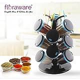 Floraware 15-Jar Cute Revolving Spice Masala Box Rack with Fruit Fork, Blue