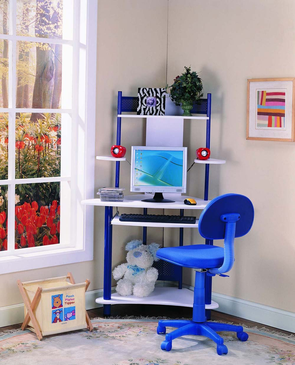 Kings Brand Blue Finish Corner Workstation Kids Childrenu0027s Computer Desk:  Amazon.co.uk: Kitchen U0026 Home
