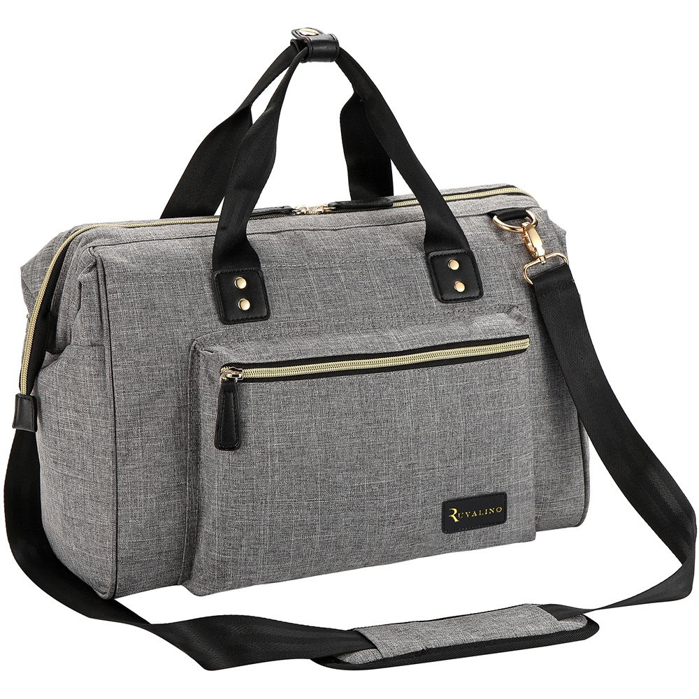 Diaper Bag, RUVALINO Large Diaper Tote Stylish for Mom and Dad Convertible Travel Baby Bag for Boys and Girls with Changing Pad, Insulated Pockets (Grey) by RUVALINO