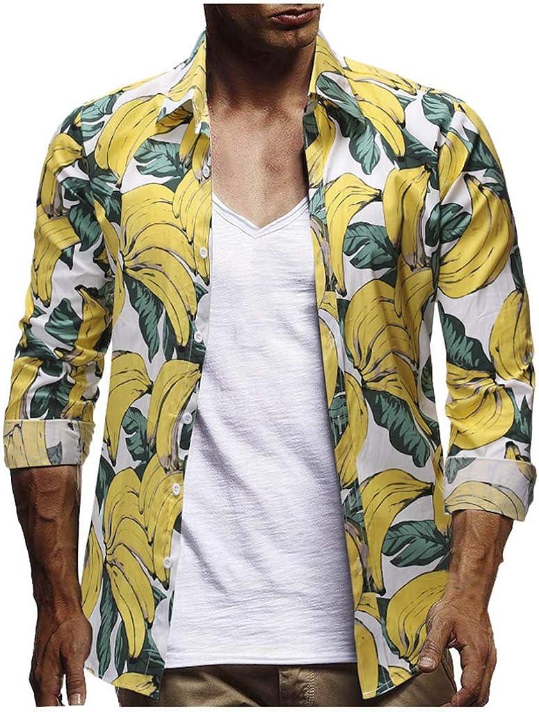 YEBIRAL Polos Manga Larga Camisetas Hawaiana Hombre ...