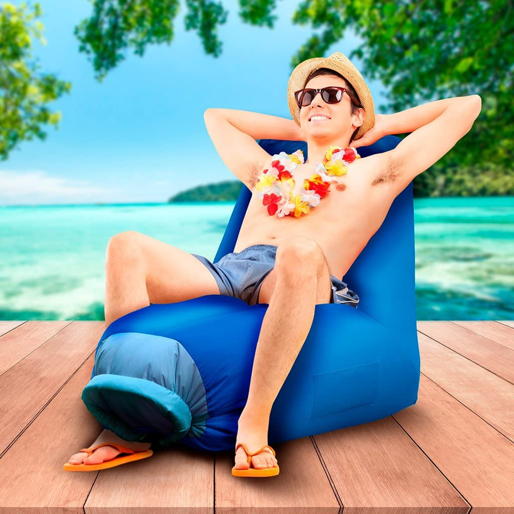 Balvi - Cloud inflatable beach chair. Also perfect for the swimming pool or hiking. Very easy to inflate. Orange colour. Blue