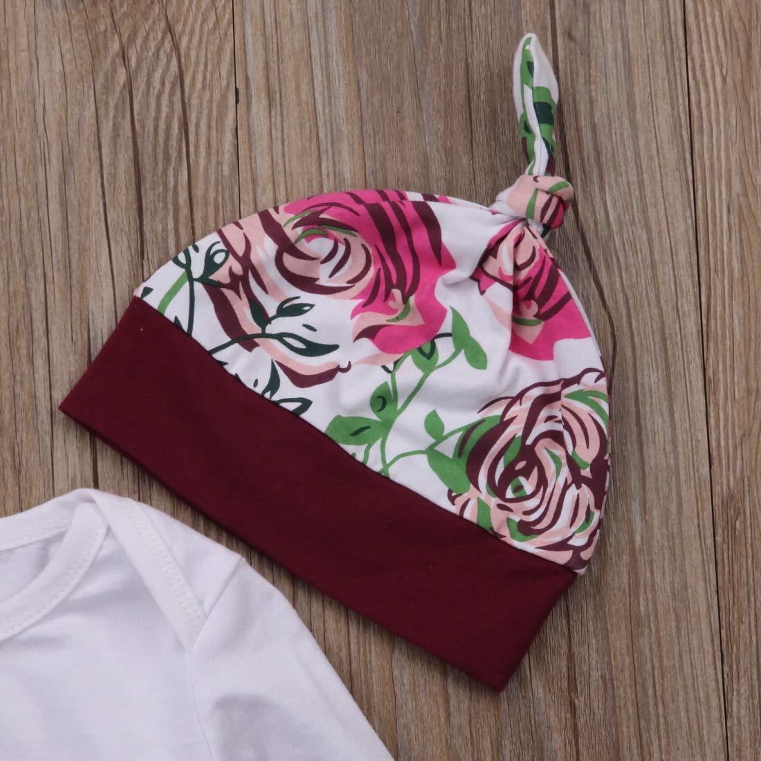 Blumenhosen-Gamaschen Hut-Ausstattungen stellten Kleidung f/ür 0-18M EIN PERILA Neuester neugeborener Baby-Oberseiten-Spielanzug