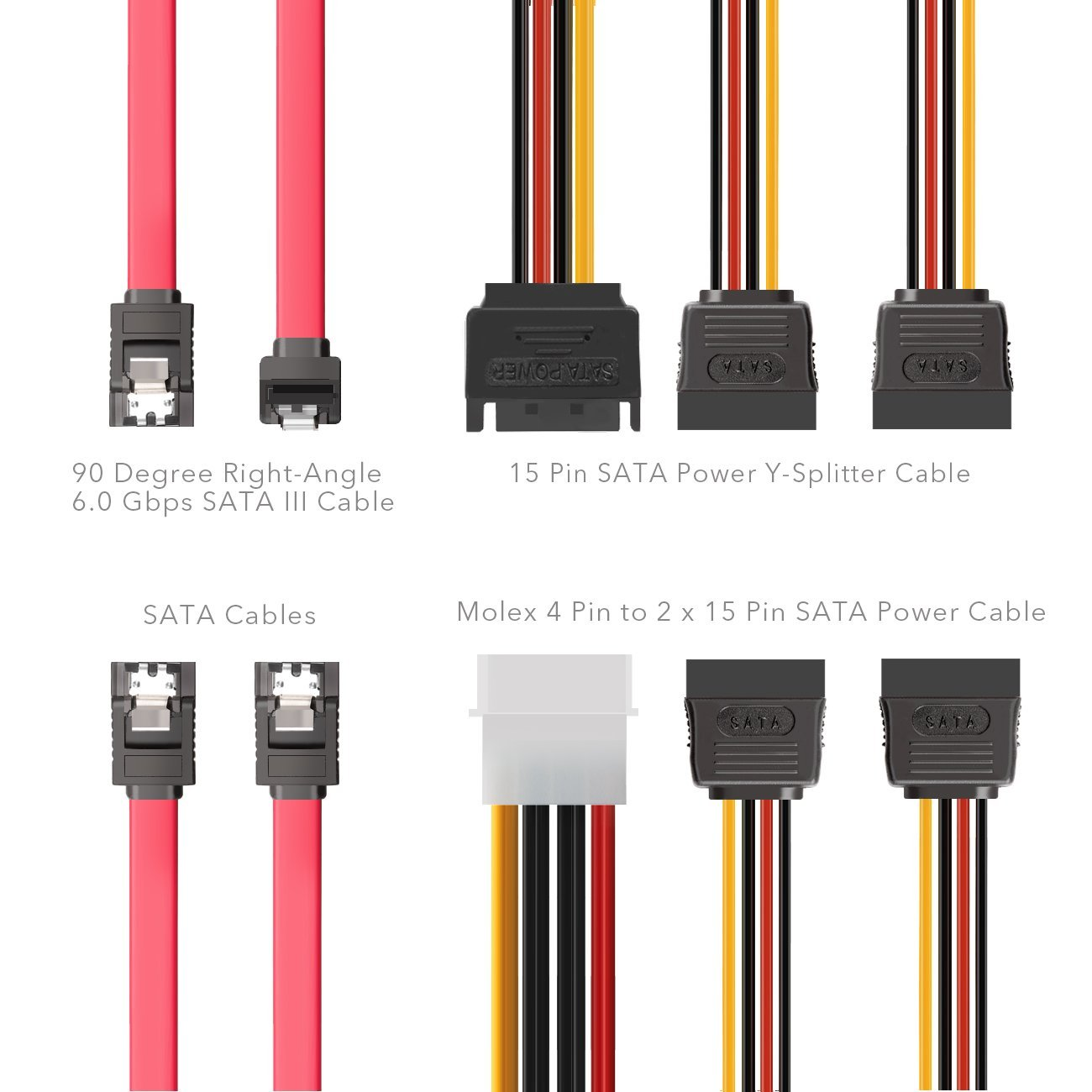 Ssd Sata Iii Hard Drive Connection Cables 1 X 4 Pin To House Wiring Red Wire Dual 15 Power Splitter Cable