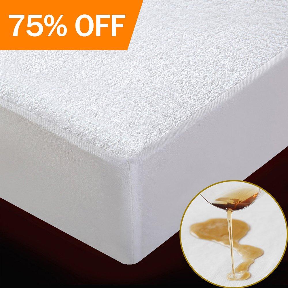 Protector de colchón,cubre colchón,impermeable para cama 135×200.(blanco