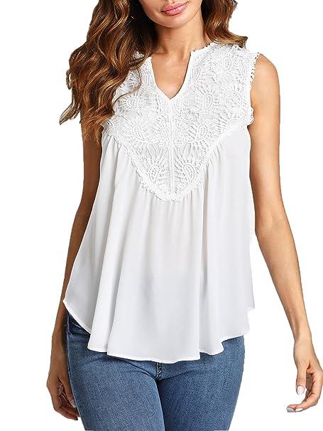 b8728e2adf5d00 Romwe Women s Elegant Contrast Lace Sleeveless Top Loose Ruffled Tunic  Blouse White XS at Amazon Women s Clothing store