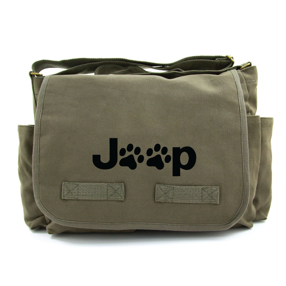 Jeep Wrangler Cat Dog Paw Prints Army Heavyweight Canvas Messenger Shoulder Bag in Olive Black