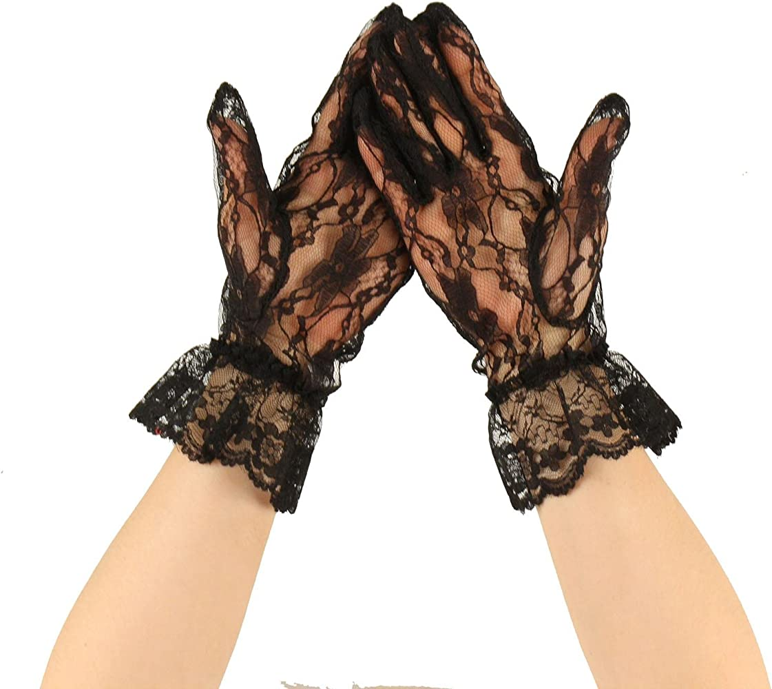 Fancy Floral Sheer Lace Tea Party Vintage Style Ruffle Wrist