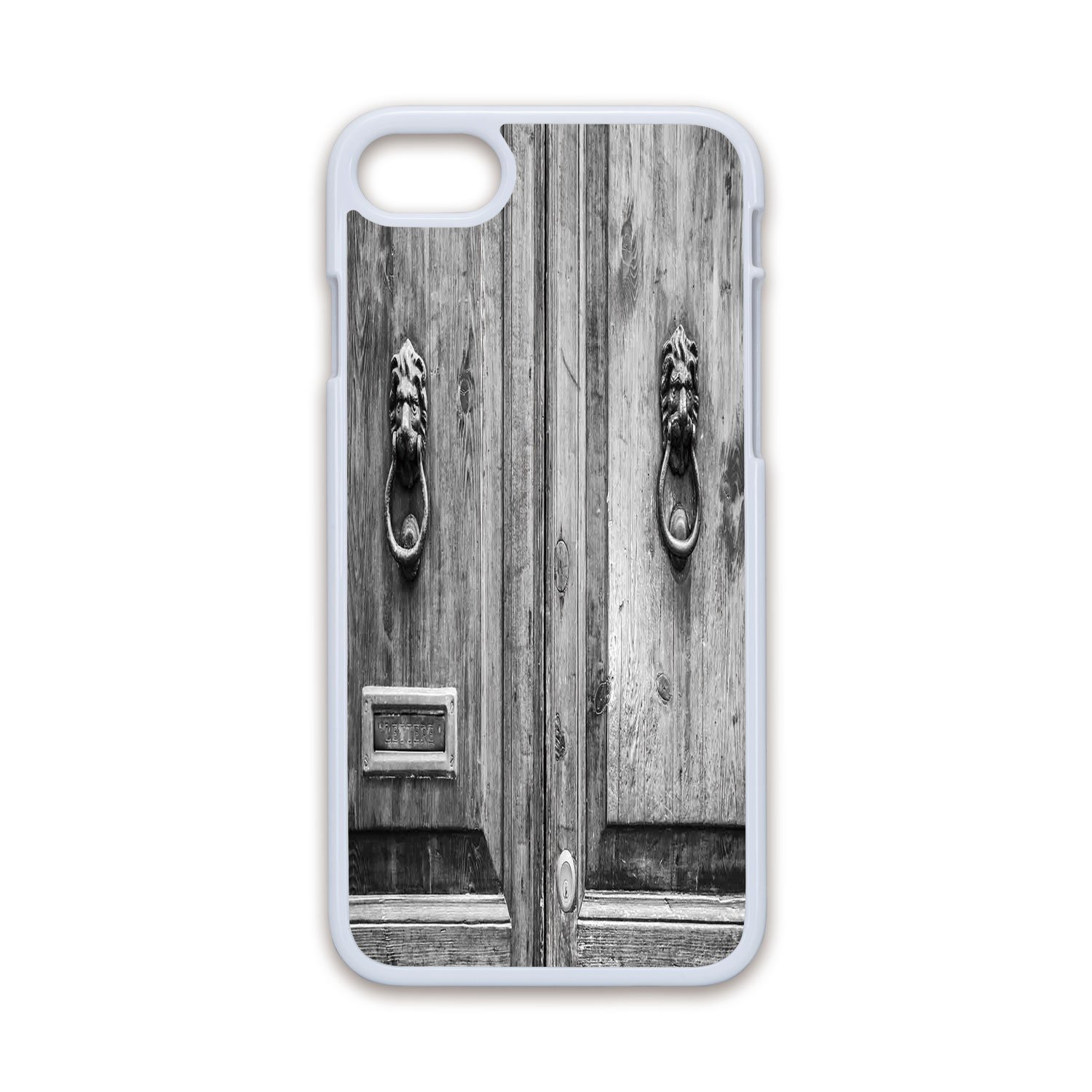 Phone case compatible with iphone7 iphone8 white soft edges 2d printrustic black and white photography of tuscany house doorway florence with lion head