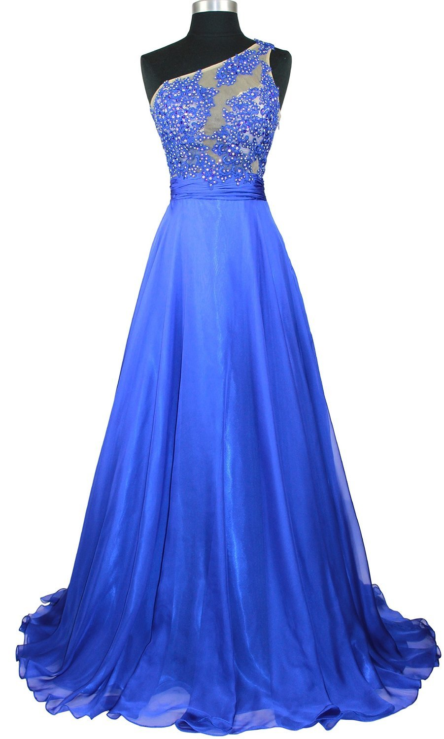 Ovitina Long Fitted One Shoulder Beaded Lace Sheer Top Pageant Formal Prom Dress Royal Blue us16