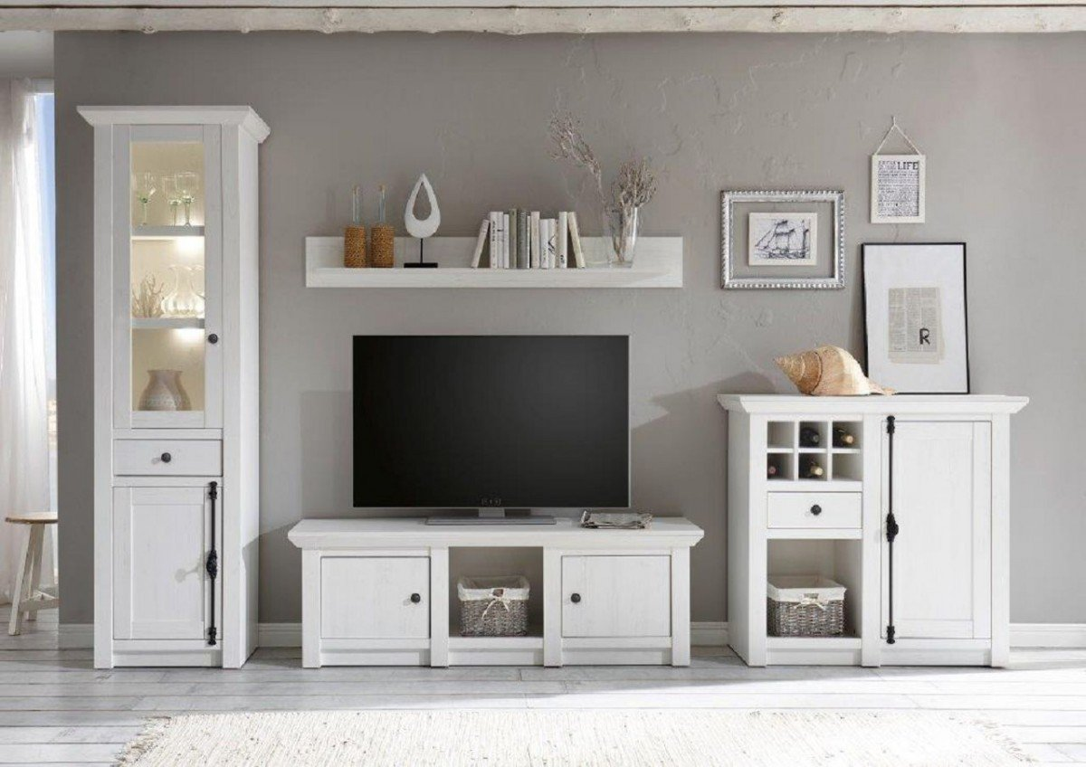 dreams4home wohnwand 39 tinnum ii 39 set vitrine tv lowboard kommode wandregal medienwand. Black Bedroom Furniture Sets. Home Design Ideas