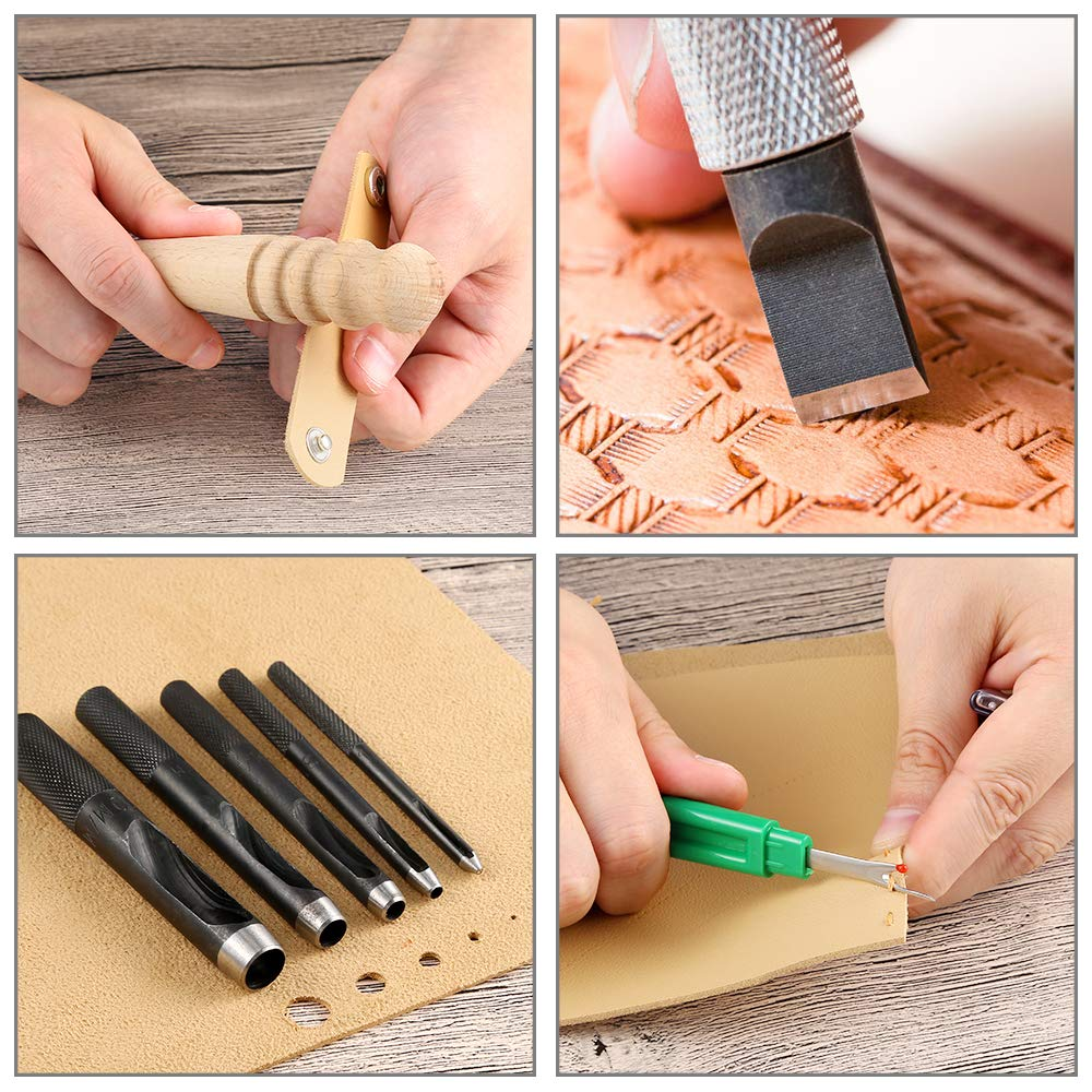 Caydo 127 Pieces Leather Craft Tools Kit with Instructions, Leather Sewing Tools, Punch Tools, Rivets Tools, Stamping Set and Wooden Handle Nylon Hammer for Leather Craft and Saddle Making Tools by Caydo (Image #4)