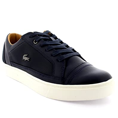c89b9a524 Lacoste Mens Bowerey Lace Up Low Top Leather Smart Navy Casual Trainers -  Dark Blue -