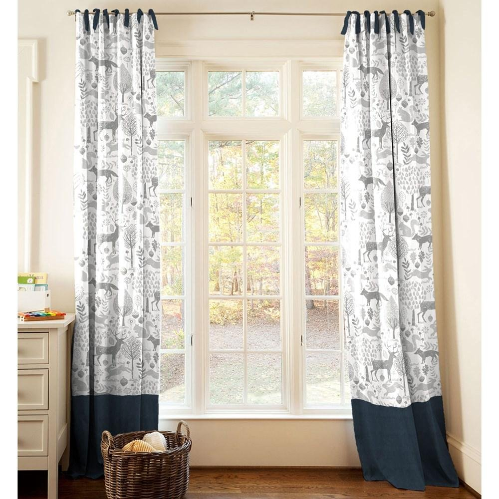Carousel Designs Navy and Gray Woodland Drape Panel 96-Inch Length Standard Lining 42-Inch Width