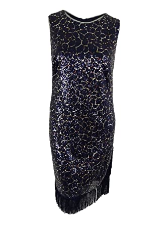647afadd3d Betsy   Adam Womens Plus Sequined Fringe Evening Dress Navy 14W at Amazon Women s  Clothing store