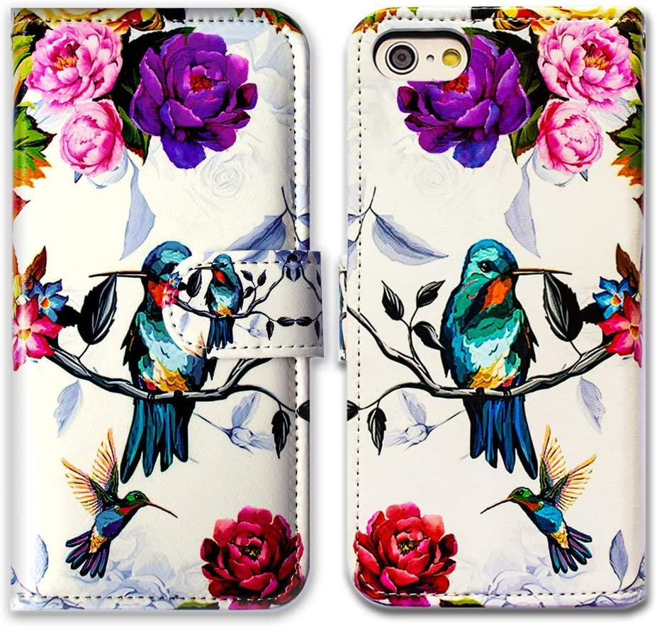 iPhone 6s Plus Wallet Case,iPhone 6 Plus Case,Bcov Hummingbird in Flowers Leather Flip Wallet Case Cover with Card Slot Holder Kickstand for iPhone 6S+/6+