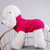 (XS-Magenta) Small Dog Sweaters Knitted Warm Pet Cat Sweater, MH MOIHSING Soft Dog Jumpers Cute Turtleneck Knitwear Dog…