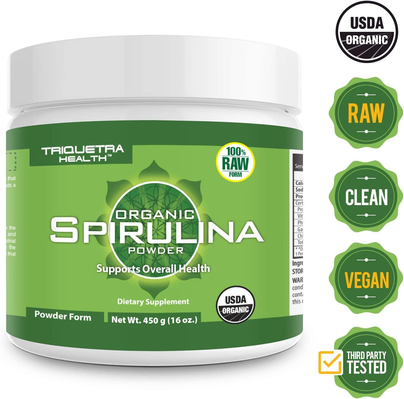 Organic Spirulina Powder 4 Organic Certifications – Certified Organic by USDA, Ecocert, Naturland OCIA – Vegan Farming Process, Non-Irraditated, Max Nutrient Density 16 oz.