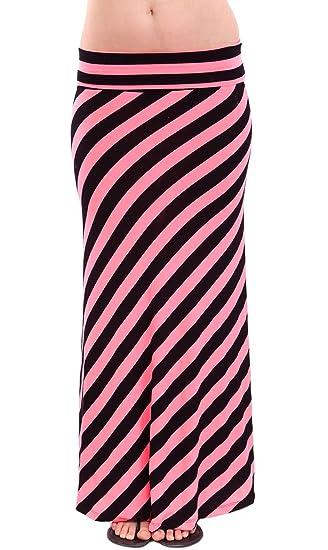 Señoras con cintura negro Diagonal rayas neón rosa Jersey Falda ...
