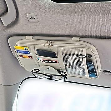 SUNACCL Car Sun Visor Organizer Gray Multifunctional Auto Interior Accessories Pocket Organizer Portable Car Truck SUV Storage Pouch Holder with Multi-Pocket Net Zipper