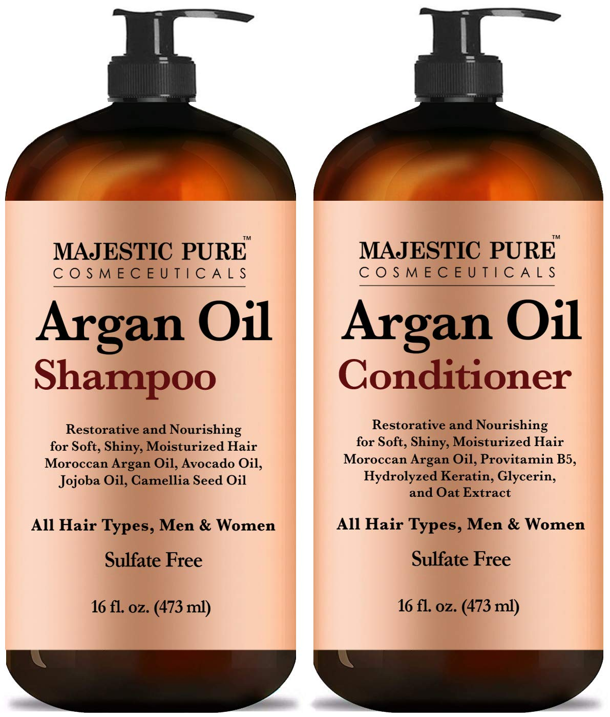 Argan Oil Shampoo and Conditioner, from Majestic Pure, Improve formula Sulfate Free, Vitamin Enriched, Volumizing & Gentle Hair Restoration Formula for Daily Use, for Men and Women, 16 fl oz Each by Majestic Pure