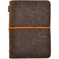 ZLYC Vintage Handmade Refillable Leather Passport Size Travelers Journals Diary Notepad Notebook ((Flowers Emboss)Dark Coffee)