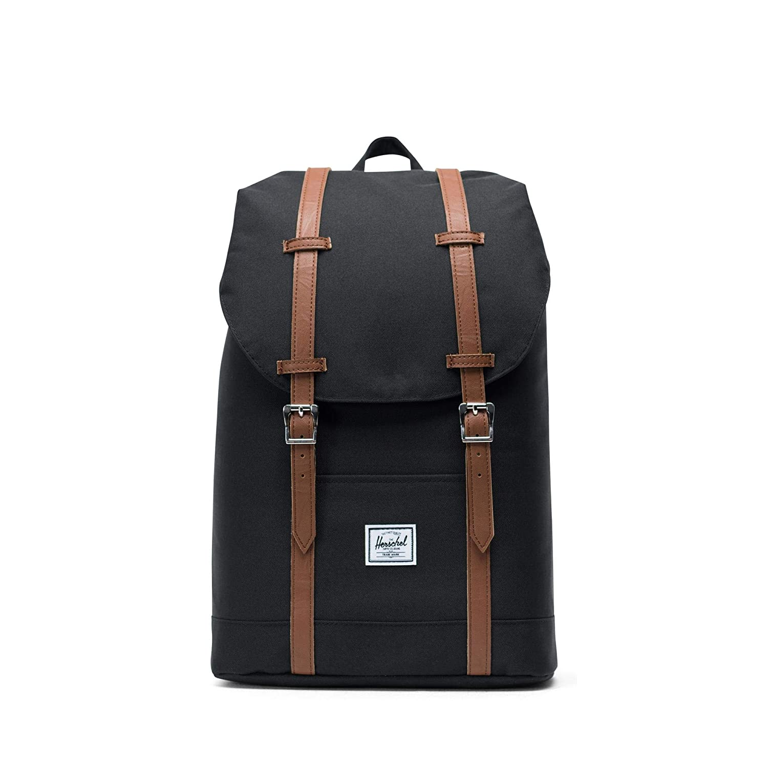 HERSCHEL RETREAT MID-VOLUME 14L BACKPACK (BLACK/TAN SYNTHETIC LEATHER) B01GHL3Q8I
