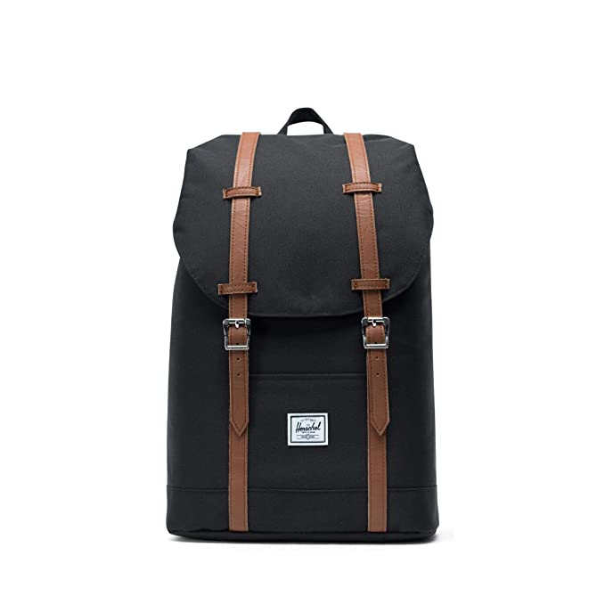 Herschel Retreat Mid-Volume Backpack, Black/Tan Synthetic Leather