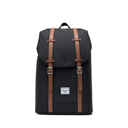 Herschel Retreat Mid-Volume Backpack-Black Tan Synthetic Leather