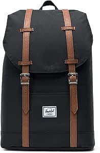 Herschel Retreat Mid-Volume Unisex Backpack, Black/Tan Synthetic Leather