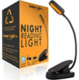 Amber Light Rechargeable Blue Light Blocking Reading Light | Warm LED Light for Strain-Free, Healthy Eyes | Base Clamp…