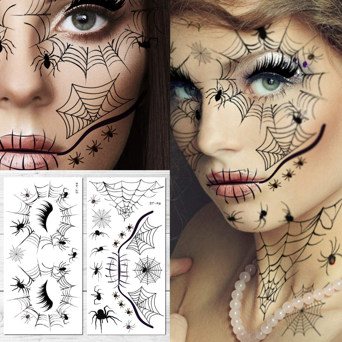 Supperb Halloween Face Tattoo Spider Temporary Face Tattoo Kit (Pack of 2)