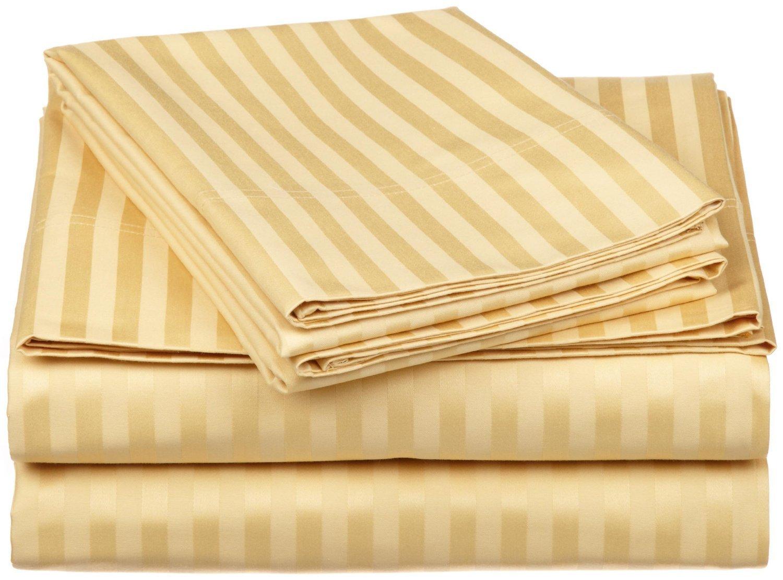 100% Egyptian Cotton 650 Thread Count Twin XL 3-Piece Sheet Set, Deep Pocket, Single Ply, Stripe, Gold