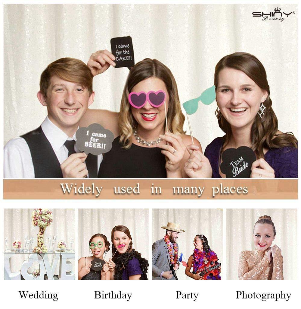 ShinyBeauty Sequin-Backdrop 2 Panels-Wei/ß Foto Vorh/änge Hintergrund Sparkle Hintergrund Baby Dusch Vorh/änge Hochzeit Party Hintergrund Schimmer Pailletten Hintergrund-2FTx7FT D99