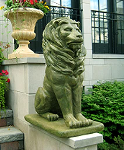 Stone Garden Statues And Ornaments Amazon pack of 2 regal sitting lion cast stone concrete moss pack of 2 regal sitting lion cast stone concrete moss finish outdoor garden statues workwithnaturefo