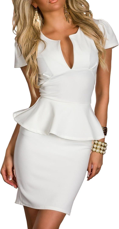 TALLA S. Boliyda Bodycan de corte bajo vestido delgado Slim club vestido informal para las mujeres Blanco1