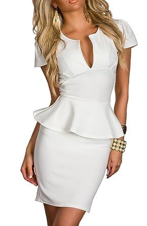638059e1e40 Boliyda Sexy Bodycan Low Cut Flounce Slim Club Robe Casual pour femme   Amazon.fr  Vêtements et accessoires
