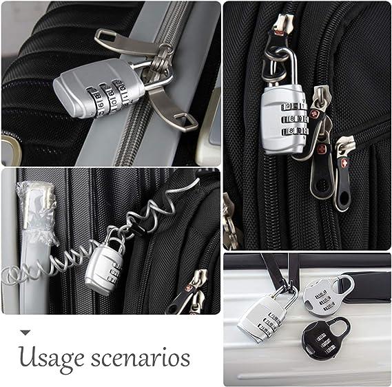 Amazon.com: Candado de combinación, 5 cerraduras de equipaje ...