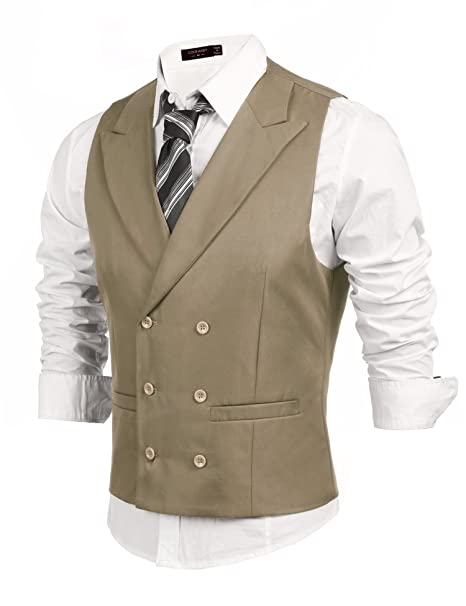 Downton Abbey Men's Fashion Guide Coofandy Mens Double Breasted Suit VestSlim Fit Business Formal Dress Waistcoat $27.99 AT vintagedancer.com