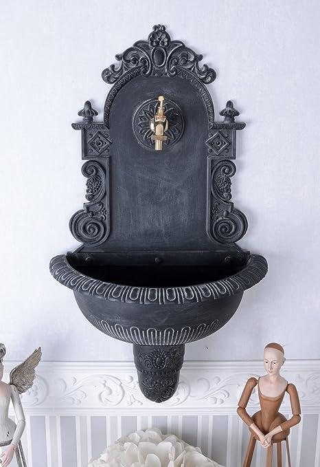 Gartendekoration Wandbrunnen Metall Zierbrunnen grau im Antikstil Gartenbrunnen