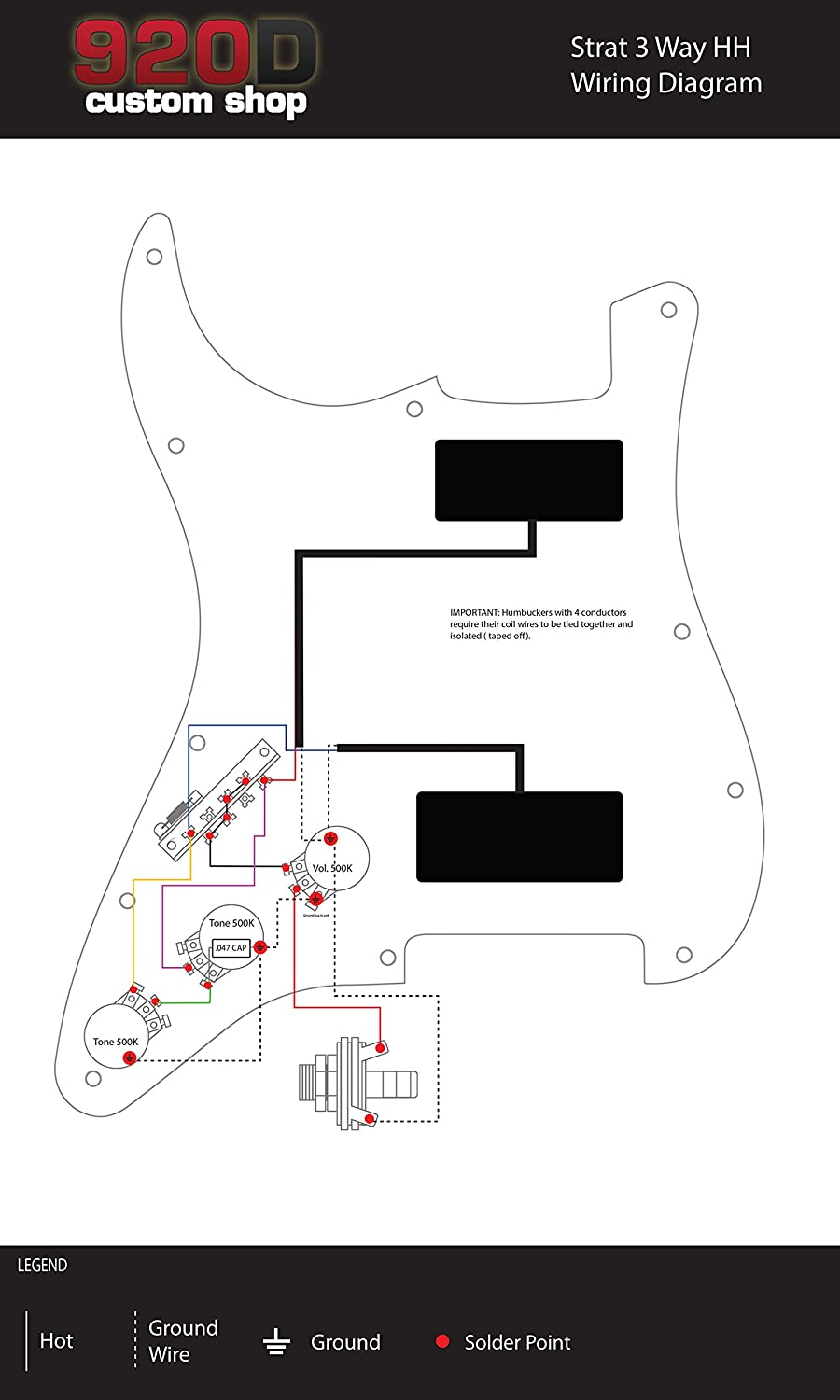 920d 3 Way Wiring Harness Fender Stratocaster Strat Hh Electric Guitar Diagram Split Shaft Cts 500k Musical Instruments