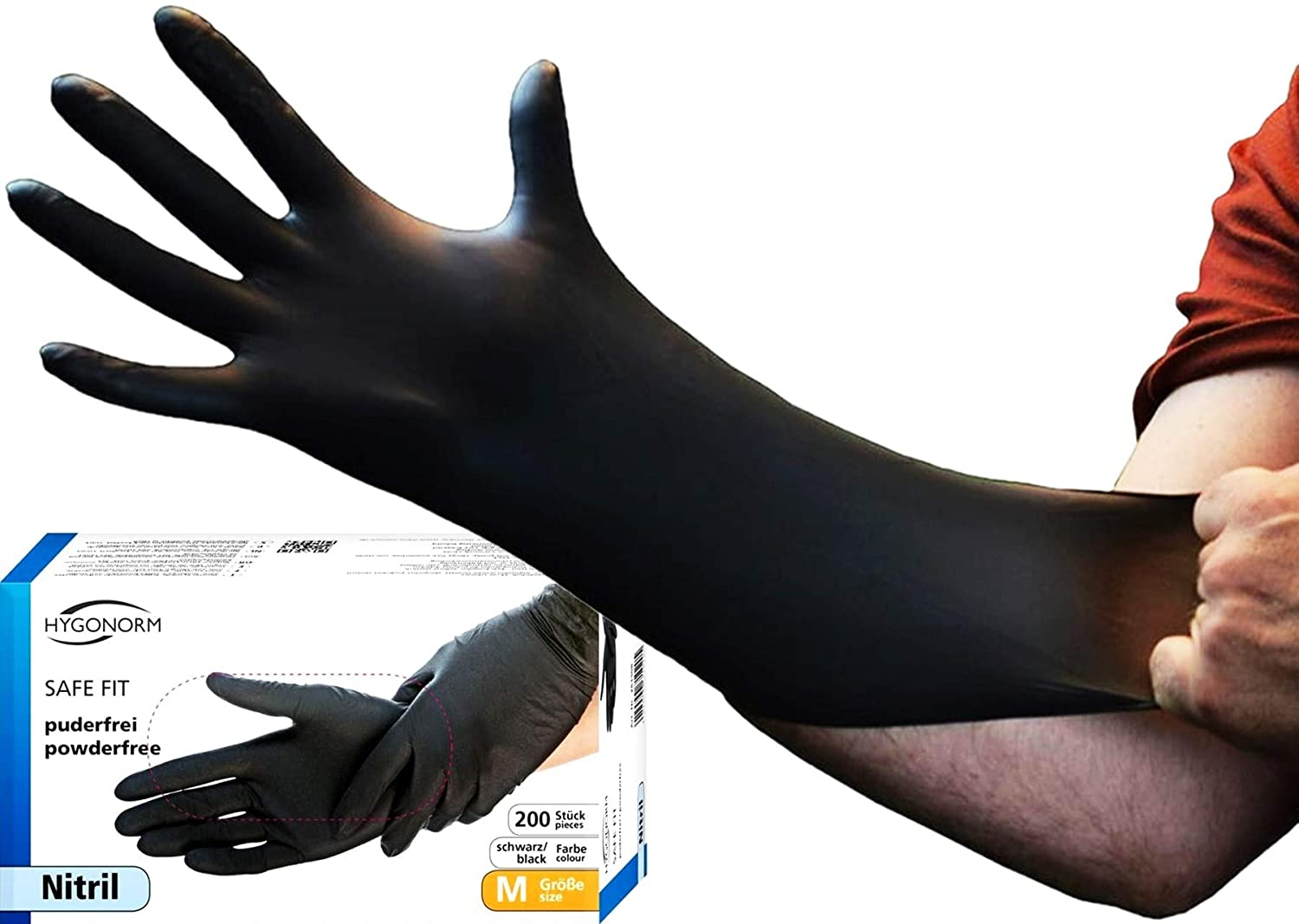 6-7 Powder Free Latex Free AQL 1.5 Light Work Cleaning Gardening Medical Grade Tattooist Personal Care Painting Black Light Duty Safe Fit Nitrile Gloves Small 200x Disposable Gloves