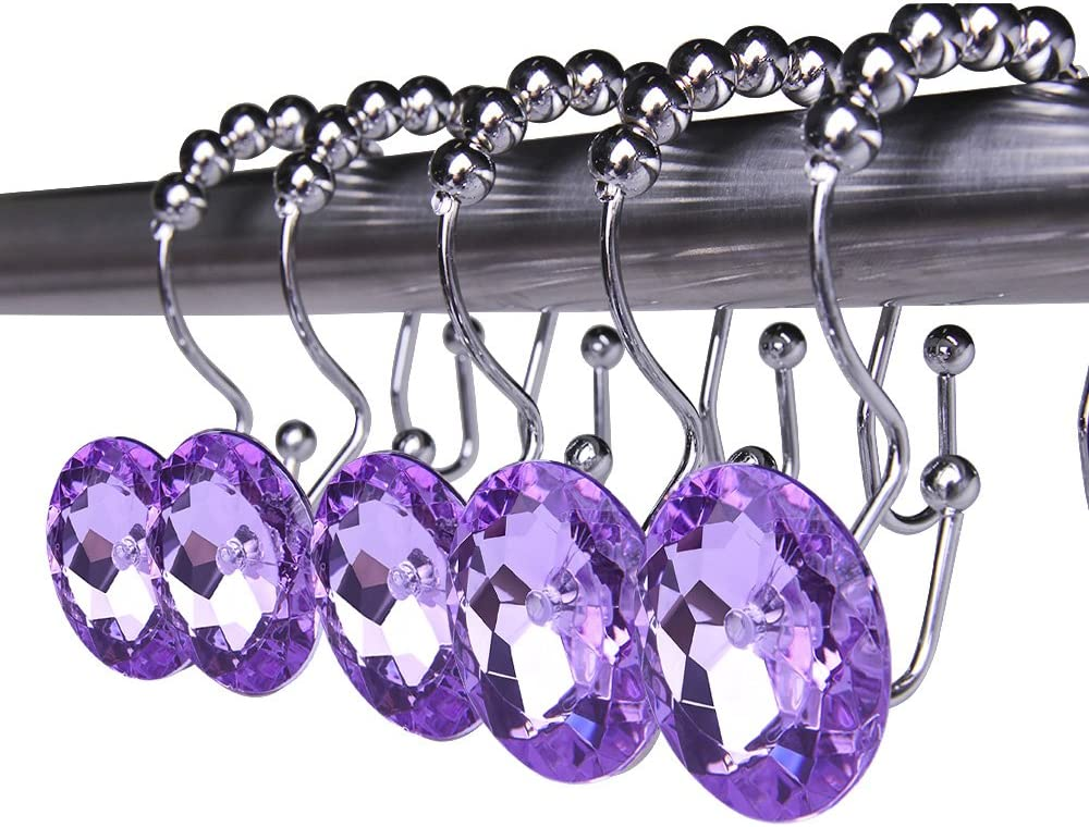 Rustproof Stainless Steel Decorative Shower Curtain Hooks Double Glide Shower Curtain Rings with Acrylic Crystal Rhinestones to Hang Curtain and Liner at Same Time, Set of 12 (Purple) Double Glide - Purple