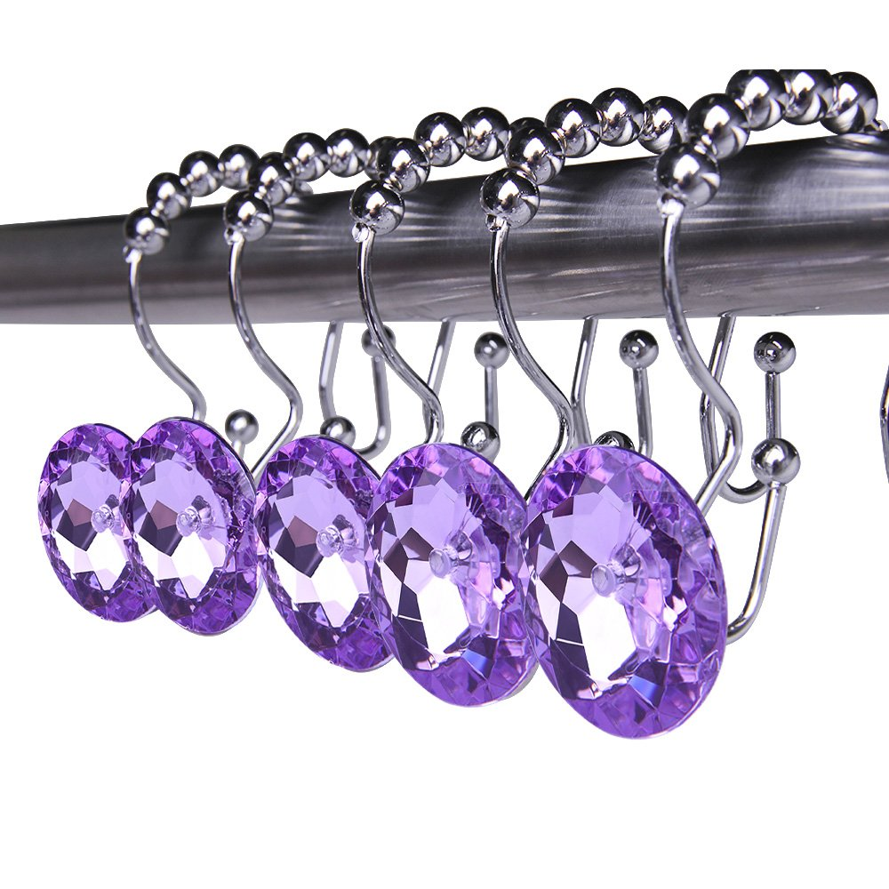 Adwaita Rustproof Stainless Steel Decorative Shower Curtain Hooks Double Glide Shower Curtain Rings With Acrylic Crystal Rhinestones - To Hang Curtain and Liner At The Same Time- Set of 12 (Purple) by Adwaita